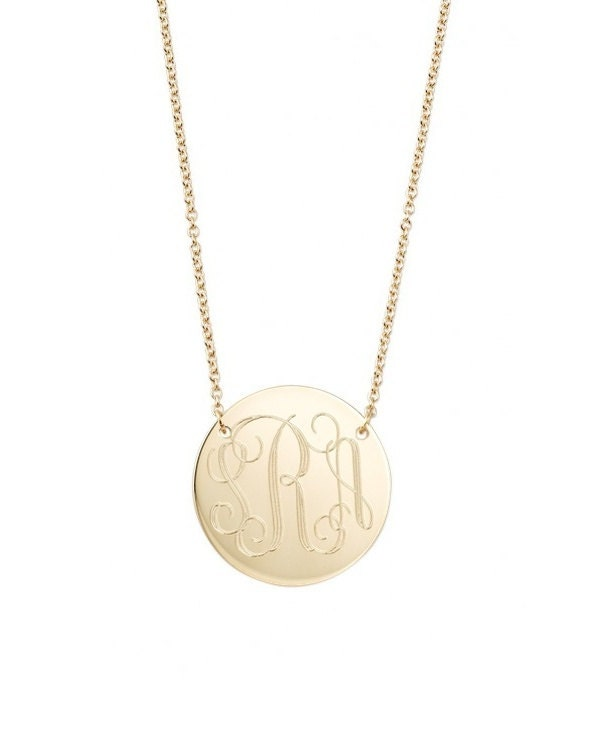 Engraved monogram necklace two hole 14k gold filled modern zoom mozeypictures Images