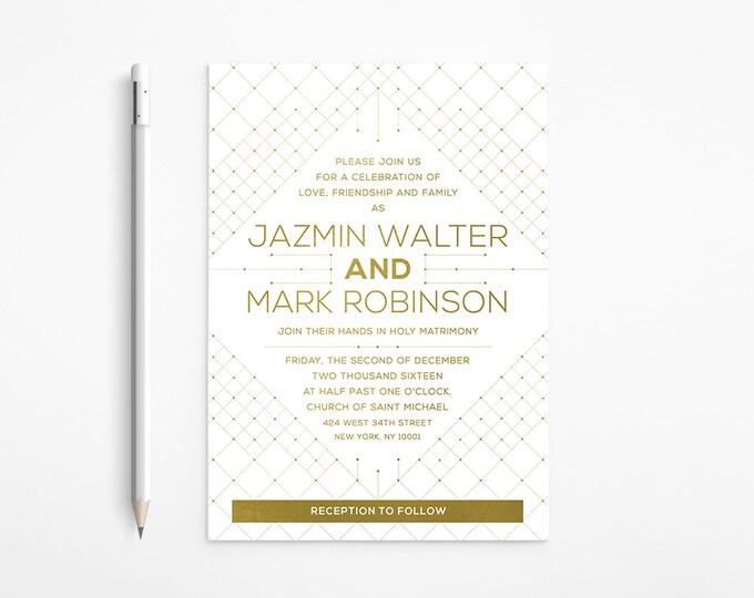 PRINTABLE - Geometric Gold Wedding Invitation - Modern - Art Deco - White - Orchid - Floral - Art Nouveau - Gatsby - Free changes - DISCOUNT