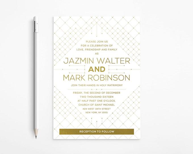 Geometric Gold Wedding Invitation, Modern, Art Deco, White, Orchid, Floral, Art Nouveau, Gatsby, Printable