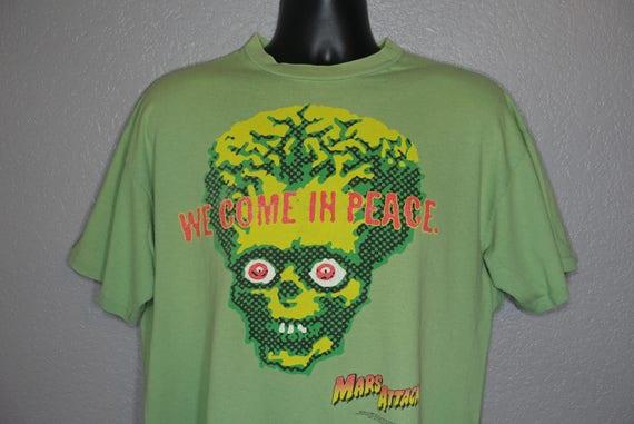 "1996 RARE Mars Attacks - ""We Come in Peace"" Stanley Desantis Alien Warner Bros. Vintage T-Shirt"