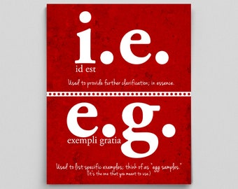 English Poster Grammar Print i.e. vs. e.g. Editor Writer Correct Grammatical Gifts for Teachers Typographic Print English Teacher Copywriter