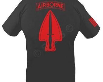 BGS Apparel™ US Army Delta Force Black custom screenprinted t-shirt, ASOC, Socom, Spec-Ops, sizes small thru 3XL