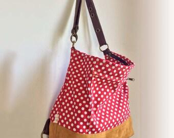 Cross Body Bag / Pop Red Backpack / Backpack Convertible Bag / Vegan Backpack / Backpack Purse / Diaper Bag / Shoulder Bag / Messenger Bag