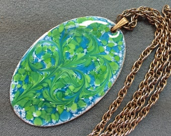 Vintage Handmade Enamel on Copper Necklace By Inga.  Free shipping