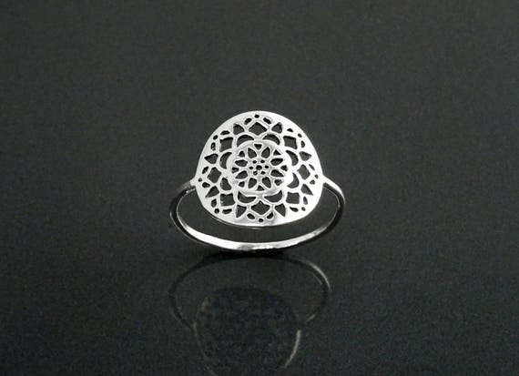 Flower of Life Ring, Sterling Silver, Seed of Life Ring, Sacred Geometry Ring, Dainty Filigree Ring, Spiritual Jewelry, Mandala Round Ring
