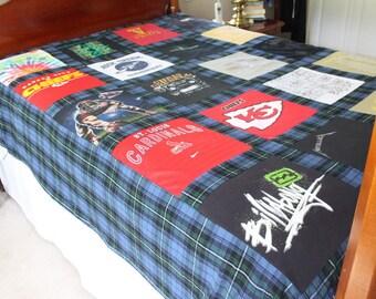 Custom T Shirt Memory Quilt Duvet - Queen-Bed Size -  20-Block Design -  Memory Blanket