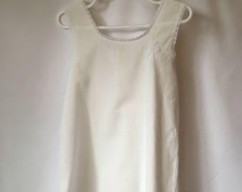 vintage HANDMADE LACE SLIP White Lace Girls size 5 or 6 1980s