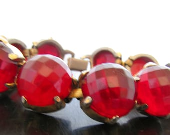 Vintage Rhinestone Cuff Bracelet Huge Faceted Ruby Red Stones Red Carpet Style Unmarked