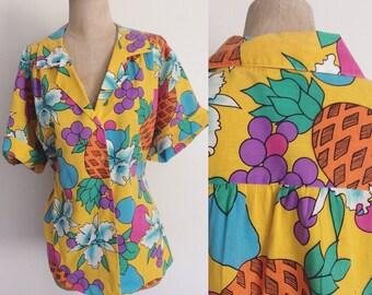 1980's Pineapple Fruit Cotton Button Up Shirt Plus Size Top Size XXL 3XL by Maeberry Vintage
