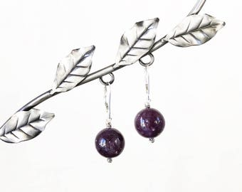 Natural Lepidolite and Sterling Silver Lever Back Drop Earrings - Very Rare