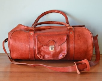 Vintage Leather overnight bag luggage brown