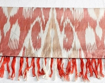 Uzbek coral cotton Ikat scarf