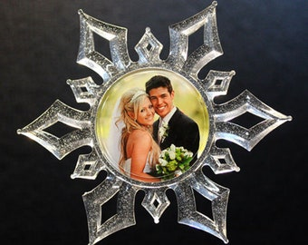 Christmas 3D Photo Snowflake Ornament GLITTER