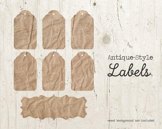 Blank Printable Tags: Blank Tag Labels Antique Printable Labels Wrinkled Paper