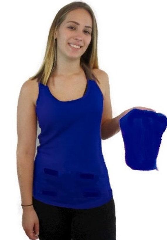 Sweaty Tee, Style 3, women's detachable front panel, velcro fasteners, tank top