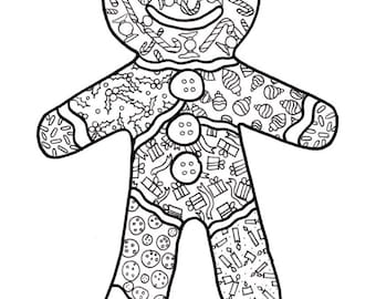 PDF Printable Colouring Page: Gingerbread Man