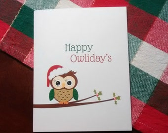 Happy Owliday's Christmas Card: Instant Download