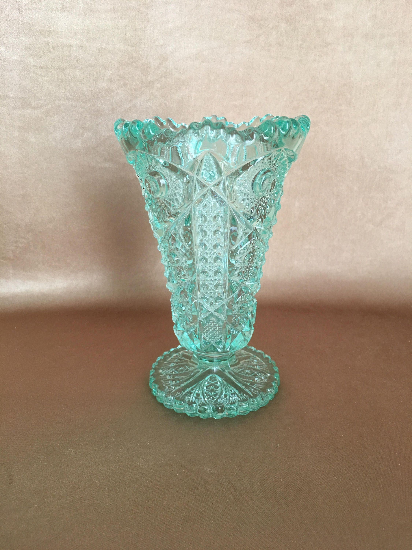 Imperial glass vase light green seafoam green footed flower description a vintage cut crystal vase reviewsmspy