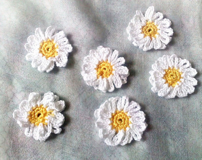 Featured listing image: Daisy, crocheted White flower application