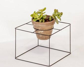 indoor plant holder, square pot holder, metal plant hanger, hanging planter,  black , modern planter, Succulent Planter, Flower pot
