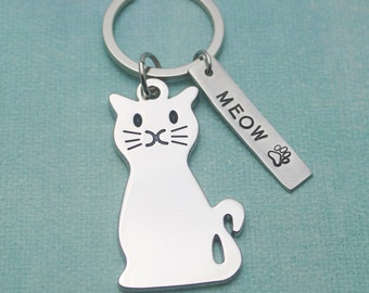 Personalized Cat MEOW Hand Stamped Pewter Keychain