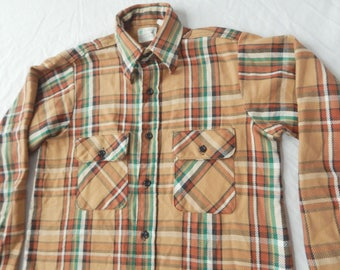 5 Brother USA Brown Green Plaid Cotton Flannel Shirt - Small Mens 14.5 Vintage