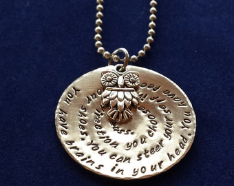 Dr. Seuss saying handstamped necklace. Great for the graduate.