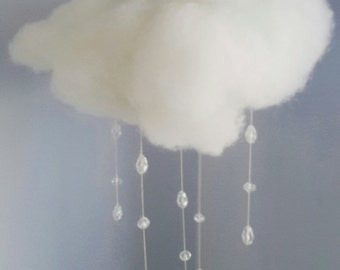 Hanging cloud with rain - mobile / pom pom / garland / decoration. Kids / children's bedrooms, great handmade gift. Sparkly glass beads!