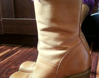 STEVIE NICKS Tan Vintage Boots Bohemian Hippie Steve Madden 70's Mid Calf  Boots US 8.5