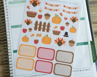 Thanksgiving Planner Stickers, Holiday Planner Stickers, November Planner Stickers, Fall Stickers, set of 37