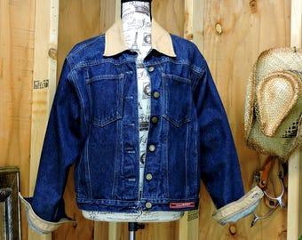 90s denim jacket / Mens M / Womens L / Authentic Rockies / dark wash jean jacket / oversized denim jacket / GravelStreetVintage