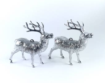 Vintage Mid Century Silver Color Reindeer Chistmas Ornament - Set of two