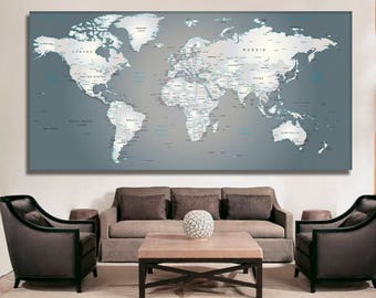 World map canvas etsy detailed world map wall art detailed map of the world pin your travel world gumiabroncs Gallery