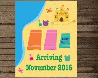 Pregnancy Announcement, Beach Pregnancy Announcement, expecting announcement, pregnancy reveal, beach announcement, Beach baby, sign, poster