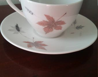 Royal Doulton 'Tumbling Leaves' Teacup and Saucer.  One cup and saucer set, with more available in this pattern.
