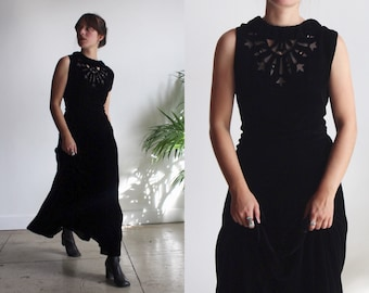 1930s Celestial Silk Velvet Black Gown - Antique 30s Dress - Vintage Velvet Burnout
