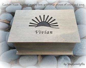 music box, custom made music box, musical jewelry box, birthday gift, musicbox, personalized music box, graduation gift, you are my sunshine