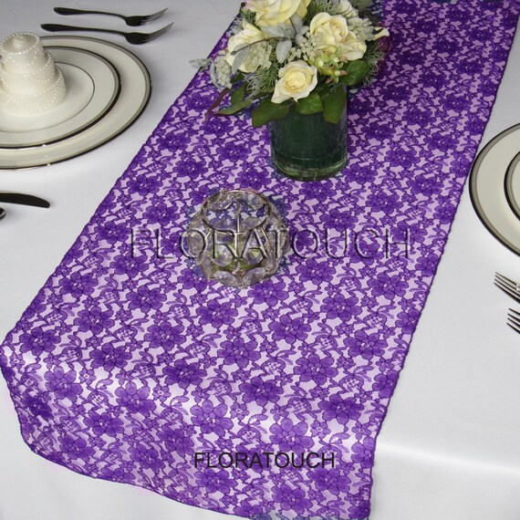 Purple Lace Table Runner Wedding Table Runner