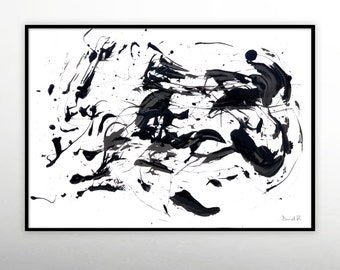 Large Abstract printable art, Black and White Minimal, Large Wall Art, Abstract paintings instant download art, A1 Landscape abstract art