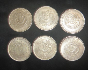 Wholesale Lot Of 6 Large Novelty Vintage Dragon Coins