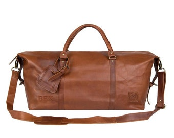 Large Leather Weekend Duffle - Leather Holdall - Leather Overnight Bag - Weekender *Personalised* in Vintage Brown by MAHI Leather