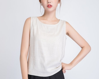 linen Tank top, women linen blouse, loose linen blouse, sleeveless linen top, Natural linen Tank, linen summer blouse top 1945