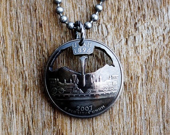 Utah State Commemorative Quarter, Cut Coin Necklace Pendant, Locomotive Trains, 2007, Domed Coin by Hendywood CPQE17