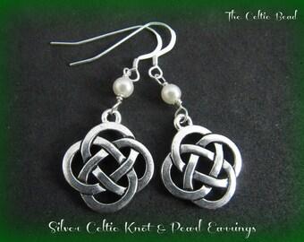 Silver Celtic Knot & Swarovski Pearl Earrings