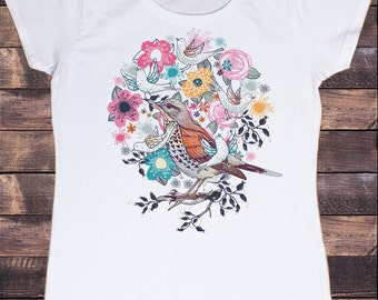 Women's White T-Shirt British Indie Bird Watching,Twitchers, Birds Print TS587