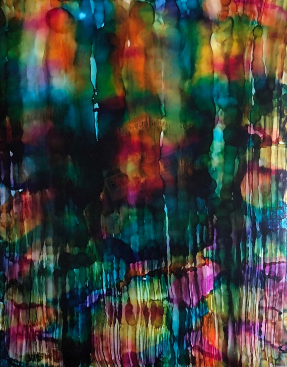 "Original Alcohol Ink Abstract Painting: ""Sliding Doors"" (11"" X 14"")"