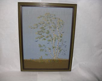 Large vintage crewel embroidery picture birch tree leaves