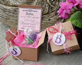 Ring POP ~ Will You Be My Flower Girl PINK Boxed Invite POP the Question Invitation Rustic Bridesmaid