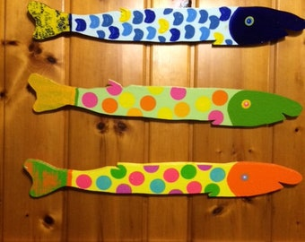 Set of 3 Hand Painted fish (picket pike)