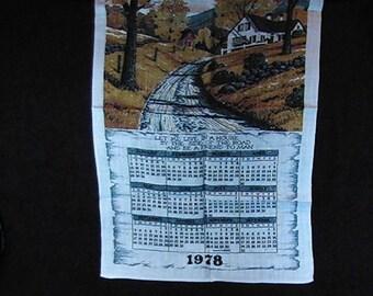 Vintage 1978 Calendar Tea Towel, 1978 Kitchen Towel, Retro Tea Towel, Calendar Towel